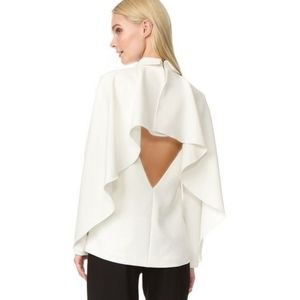 EDIT Cape Back Long Sleeve White Top with Collar